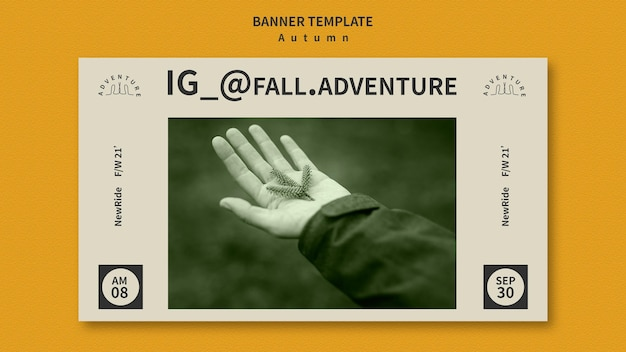 Plantilla de banner para aventura otoñal en el bosque.
