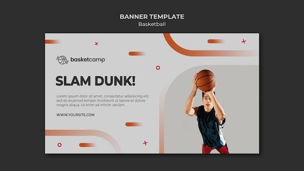 Plantilla de banner de baloncesto slam dunk