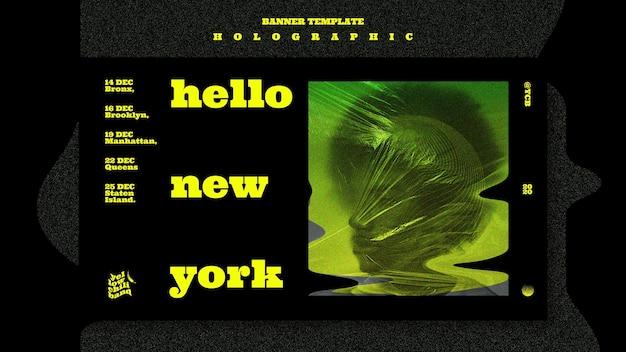 Plantilla de banner de banda de música holográfica
