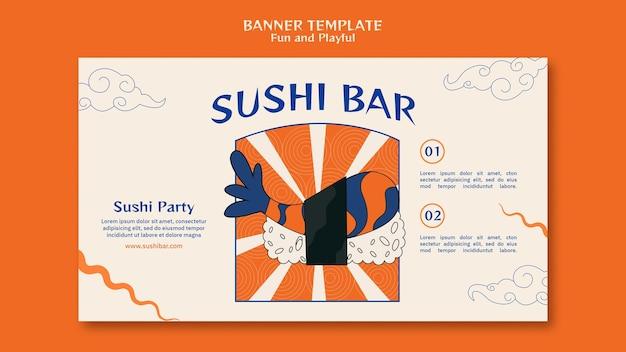 Plantilla de banner de barra de sushi