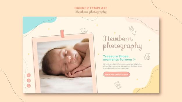 Plantilla de banner de bebé soñoliento de vista frontal