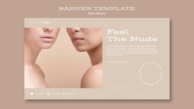 Plantilla de banner de belleza desnuda