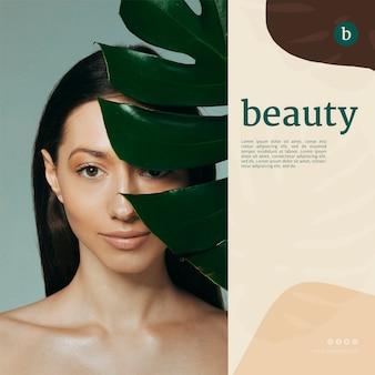 Plantilla de banner de belleza con una mujer