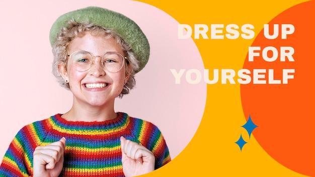 Plantilla de banner de blog de estilo de vida psd para colección de trajes de mujer
