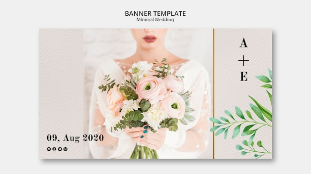 Plantilla de banner de boda mínima
