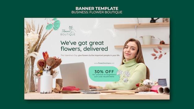 Plantilla de banner de boutique de flores con oferta