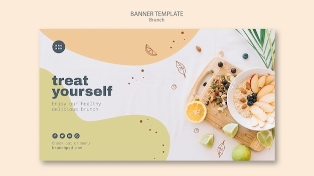 Plantilla de banner para brunch saludable