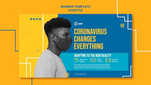 Plantilla de banner de cambios de coronavirus