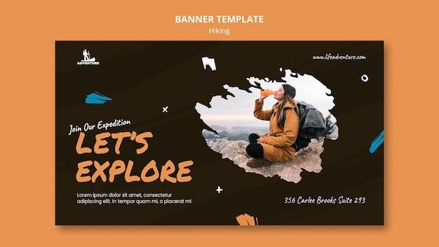 Plantilla de banner de camping y senderismo