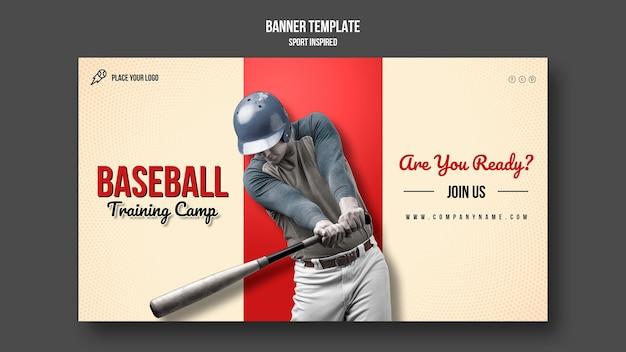 Plantilla de banner de campo de entrenamiento de béisbol