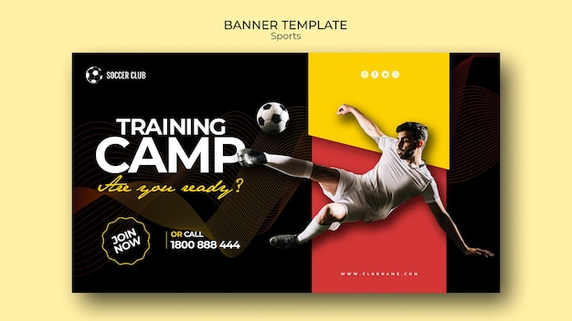 Plantilla de banner de campo de entrenamiento de club de fútbol
