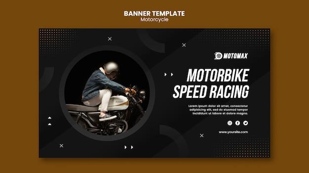 Plantilla de banner de carreras de velocidad de moto