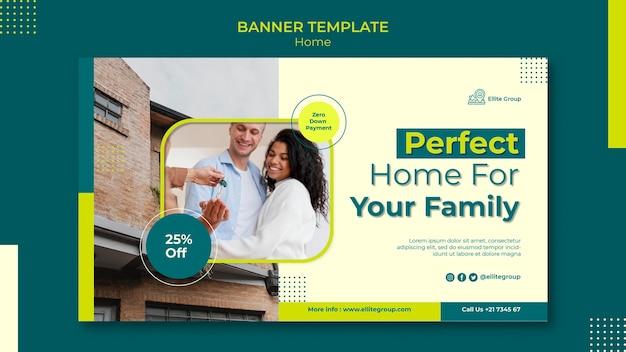 Plantilla de banner para casa familiar nueva