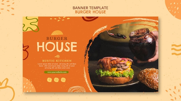 Plantilla de banner de casa de hamburguesas