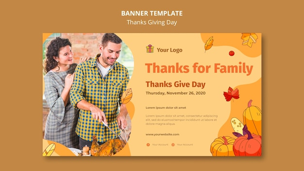 Plantilla de banner para celebración de acción de gracias
