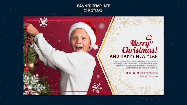Plantilla de banner de celebración navideña