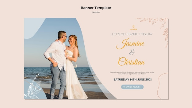 Plantilla de banner para ceremonia de boda con novios