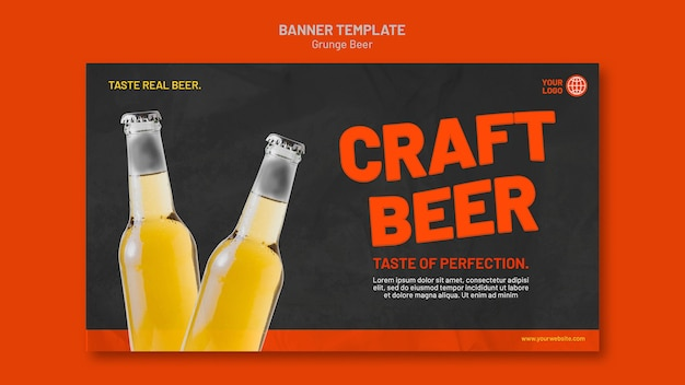 Plantilla de banner de cerveza grunge