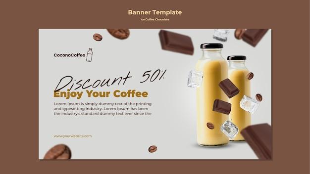 Plantilla de banner de chocolate con café helado