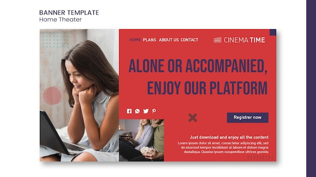 Plantilla de banner de cine en casa