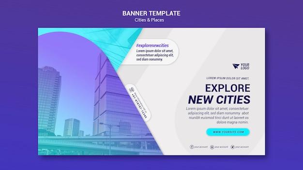 Plantilla de banner de ciudades y lugares