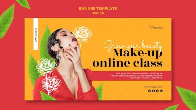 Plantilla de banner de clase online de maquillaje