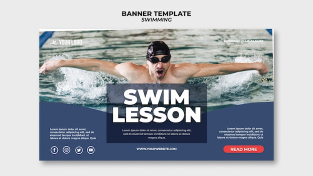Plantilla de banner para clases de natación con hombre nadando