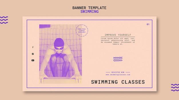 Plantilla de banner de clases de natación