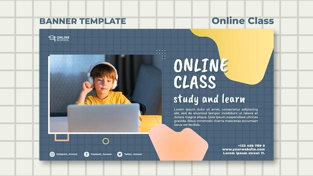 Plantilla de banner para clases online con niño.