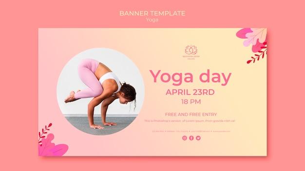 Plantilla de banner de clases de yoga con foto