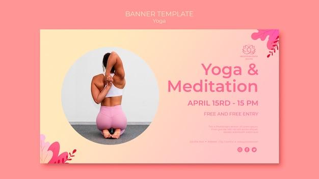 Plantilla de banner de clases de yoga con imagen