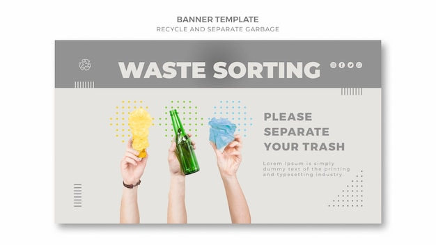 Plantilla de banner de clasificación de residuos