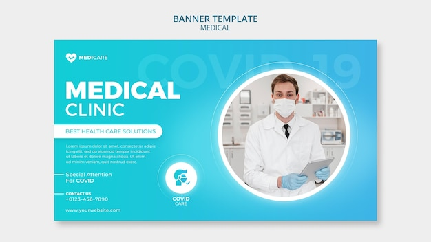 Plantilla de banner de clínica médica