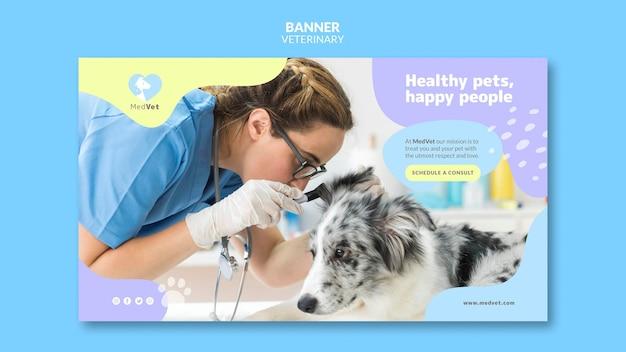Plantilla de banner de clínica veterinaria