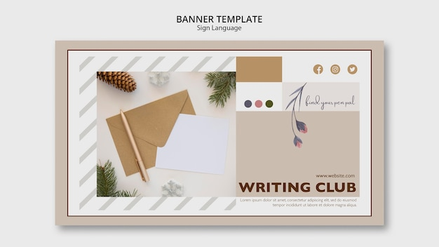 Plantilla de banner de club de escritura