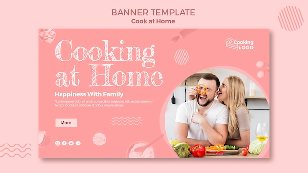 Plantilla de banner con cocina en casa