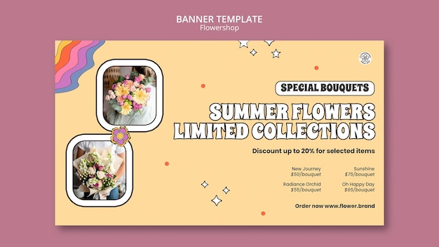 Plantilla de banner de colección limitada de flores