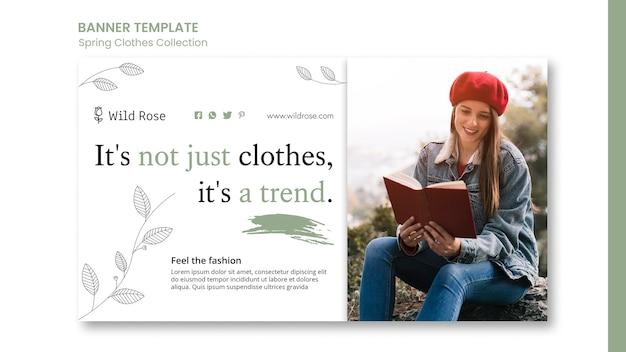 Plantilla de banner de colección de ropa de primavera