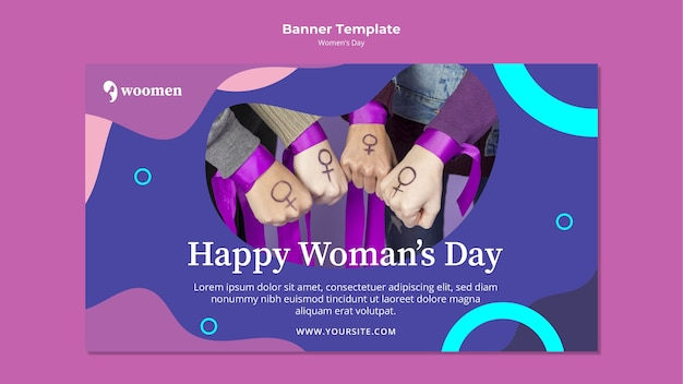 Plantilla de banner colorido día de la mujer