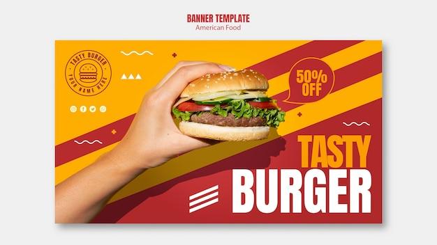 Plantilla de banner de comida americana hamburguesa sabrosa