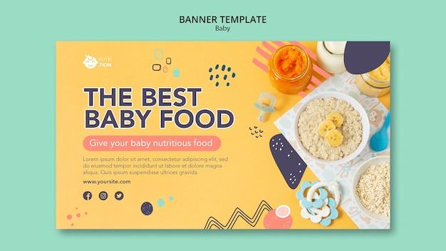 Plantilla de banner de comida para bebés