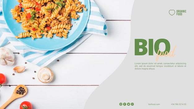 Plantilla de banner de comida bio con foto
