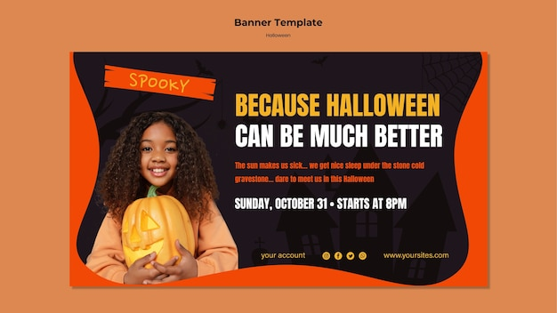 Plantilla de banner de comida de halloween