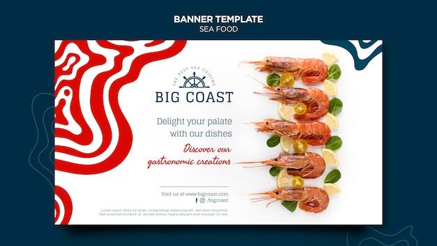 Plantilla de banner de comida de mar deliciosa