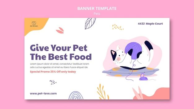 Plantilla de banner de comida para mascotas
