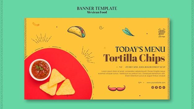 Plantilla de banner de comida mexicana