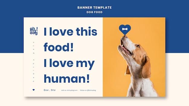 Plantilla para banner con comida para perros