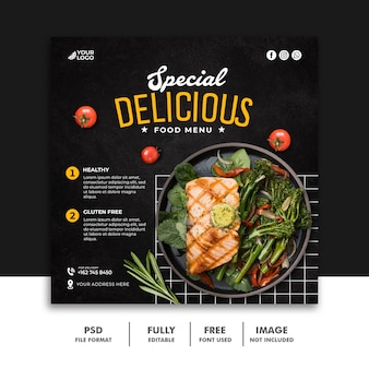Plantilla de banner de comida rápida para publicación en redes sociales para restaurante