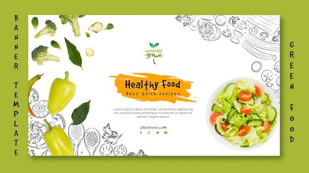 Plantilla de banner de comida saludable con foto