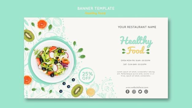 Plantilla de banner de comida saludable